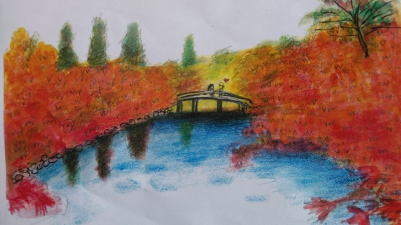 My illustration of Eikan-do temple. It is famous for marvellous maple trees, a must to watch in autumn. It has 7 wonders. The couple visited again in November and he proposed to her. But I do not know if she accepted his proposal.
