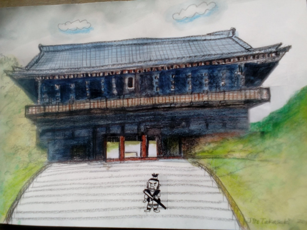 My illustration of Nanzenji temple Sanmon, the main gate. On the second floor, you will see whole view of Kyoto city. About 400 years ago, then famous thief Ishikawa Goemon amazed at the view, shouted