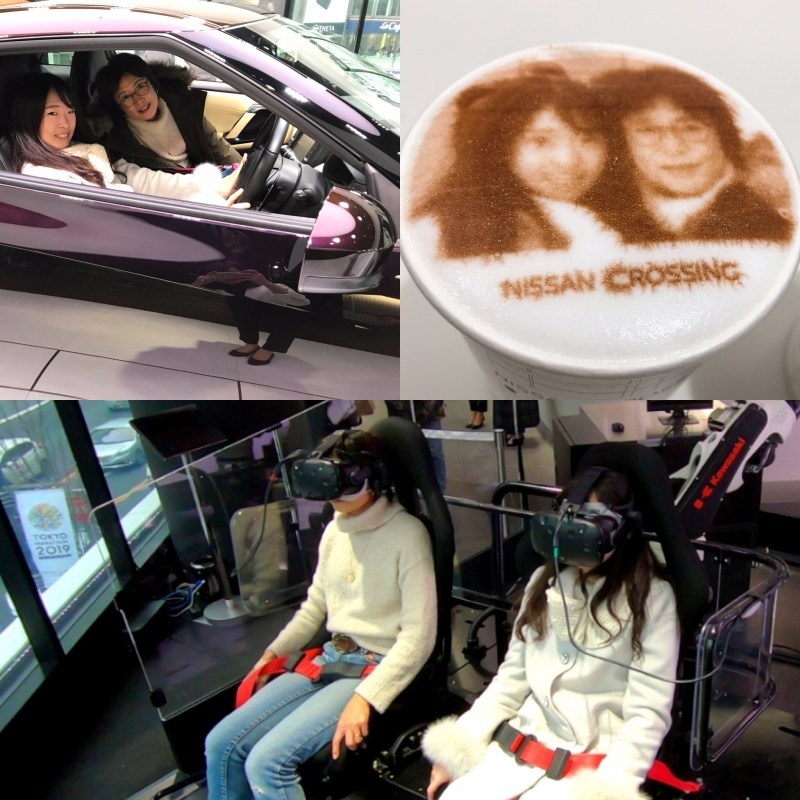Nissan Gallery at Ginza. The in-house cafe makes good latte with  your photo on it! (#4B)