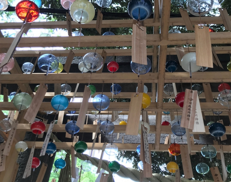 Visitors hang wish cards on wind charms at Hikawa Shrine in the summer. (Optional)