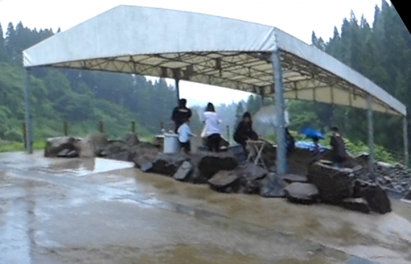 If it rains, it is OK because we excavate rocks from the excavation site of museum under big tent.