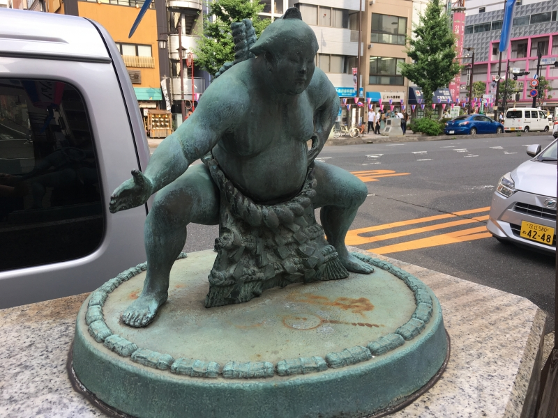 Sumo sculpture on by the street in Ryogoku.