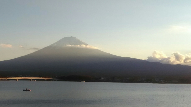 Lake Kawaguchi is located on the north from mt. Fuji. 