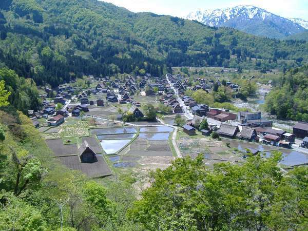 Shirakawago village from the observation deck.