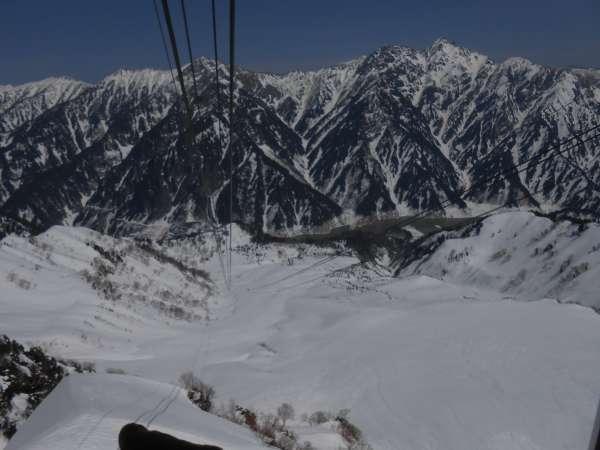 Tateyama ropeway and Ushiro Tateyama mountain range.
