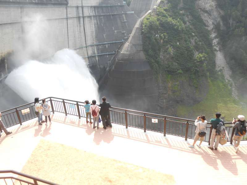 Water is gushing out from Kurobe Dam.