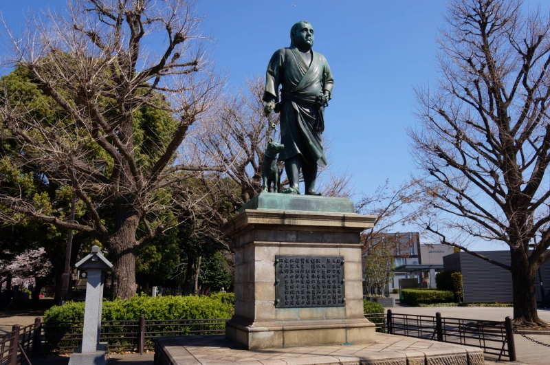 A statue of Saigo Tamamori, a war hero of Meiji Restauration died in misery but beloved by many until now, a said to be model of Last Samurai