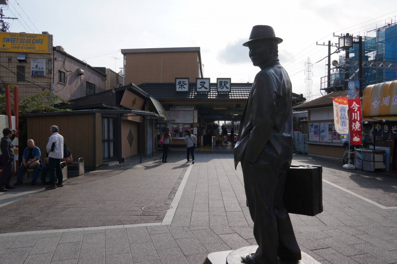 A local train station leading to Shibamata, with a statue of movie hero Torasan, deceased long time ago but always beloved by all Japanese