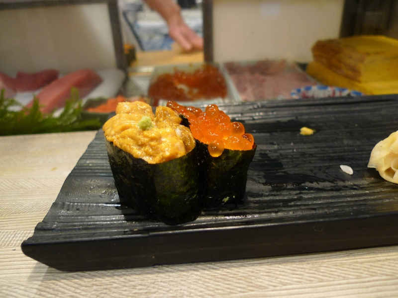 Sea urchin and salmon roe are most popular ingrédients of Sushi.