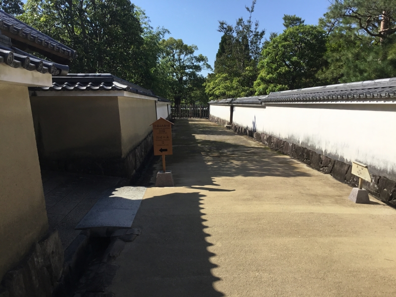 Koko-en garden composed of nine different gardens divided by mud wall with a roof
