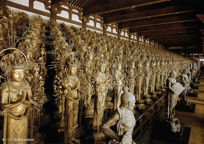 Thousands armed Kannon statue In Sanjusangendo temple