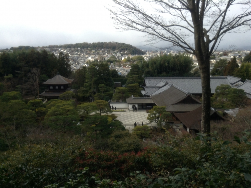 Overview of Ginkakuji temple from upper hill