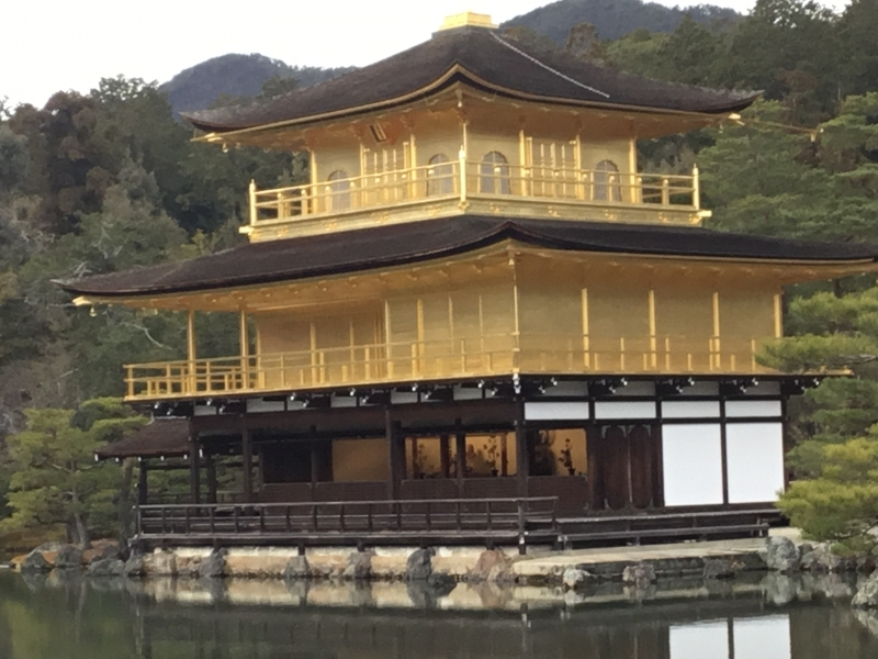 Golden pavilion is a three-story building in the garden complex