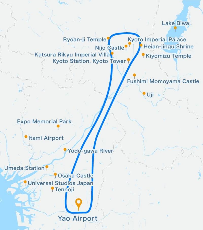 [50 minutes] Cessna cruising Osaka - Visit the sights Kinkakuji and Kiyomizudera