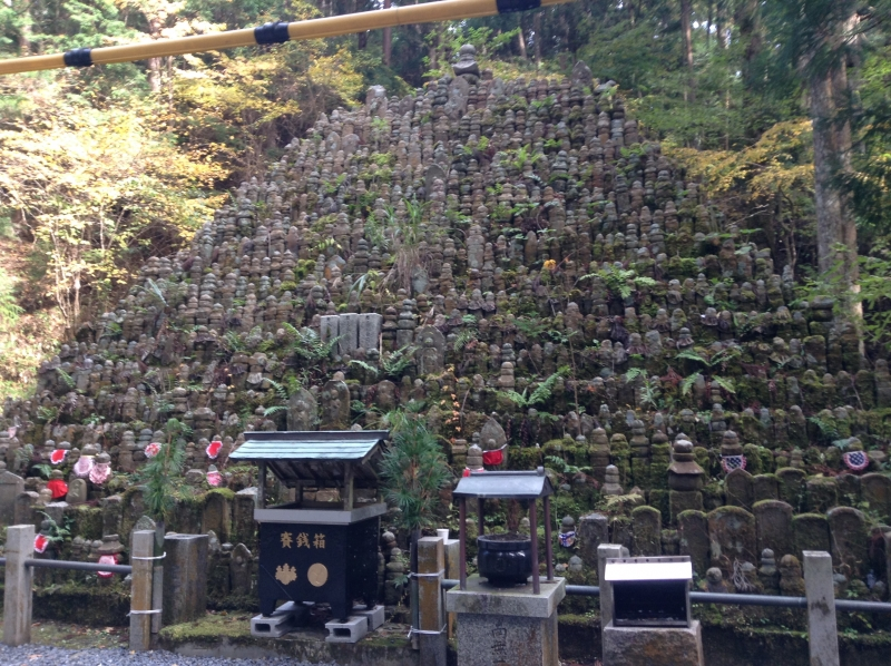 This picture shows a pyramid made of buddha statues of someone with no relatives to mourn their death. Commoners can not build thier tomb here. So a lot of people put a small a buddha statue beside the trail. And they are gathered here.