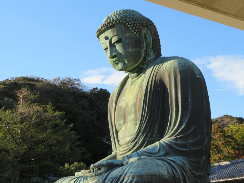 The giant Buddha statue has been standing outside for seven centuries.
