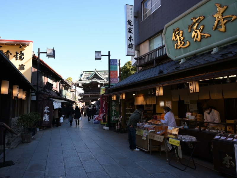 (D) Shibamata - approach road to temple is full of delicacies from rice dumplings, hand-grilled rice crackers to pickled vegetables for locals.