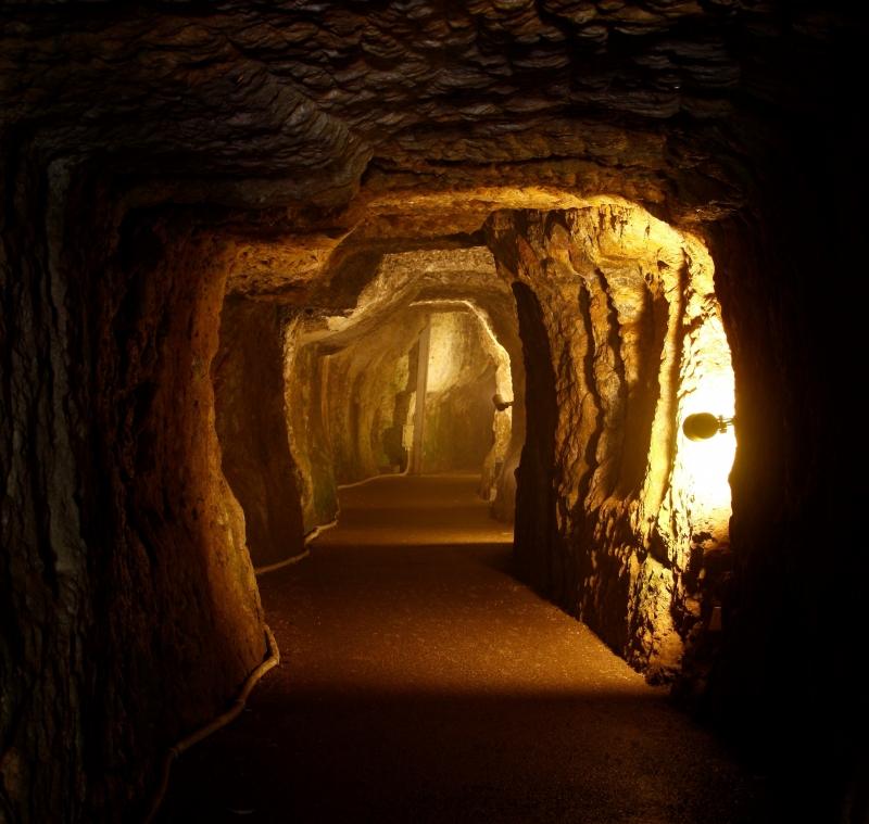 Inside the mine shaft