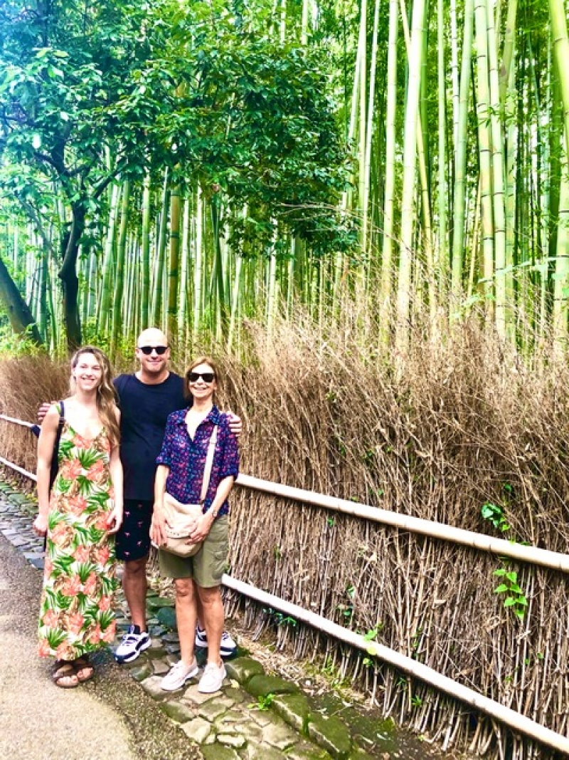 At the Bamboo Grove in Arashiyama. A fantastic place to feel the harmony of nature through a very atypical setting. Its the beauty of the fine shapes and the variety of greens, but mainly , in a more subtle way the soft light filtered and the smooth breeze that will captivate you and make you feel the peace of the environment. Its good to talk about it but also to be in silence to hear the sounds of silence; another kind of meditation.