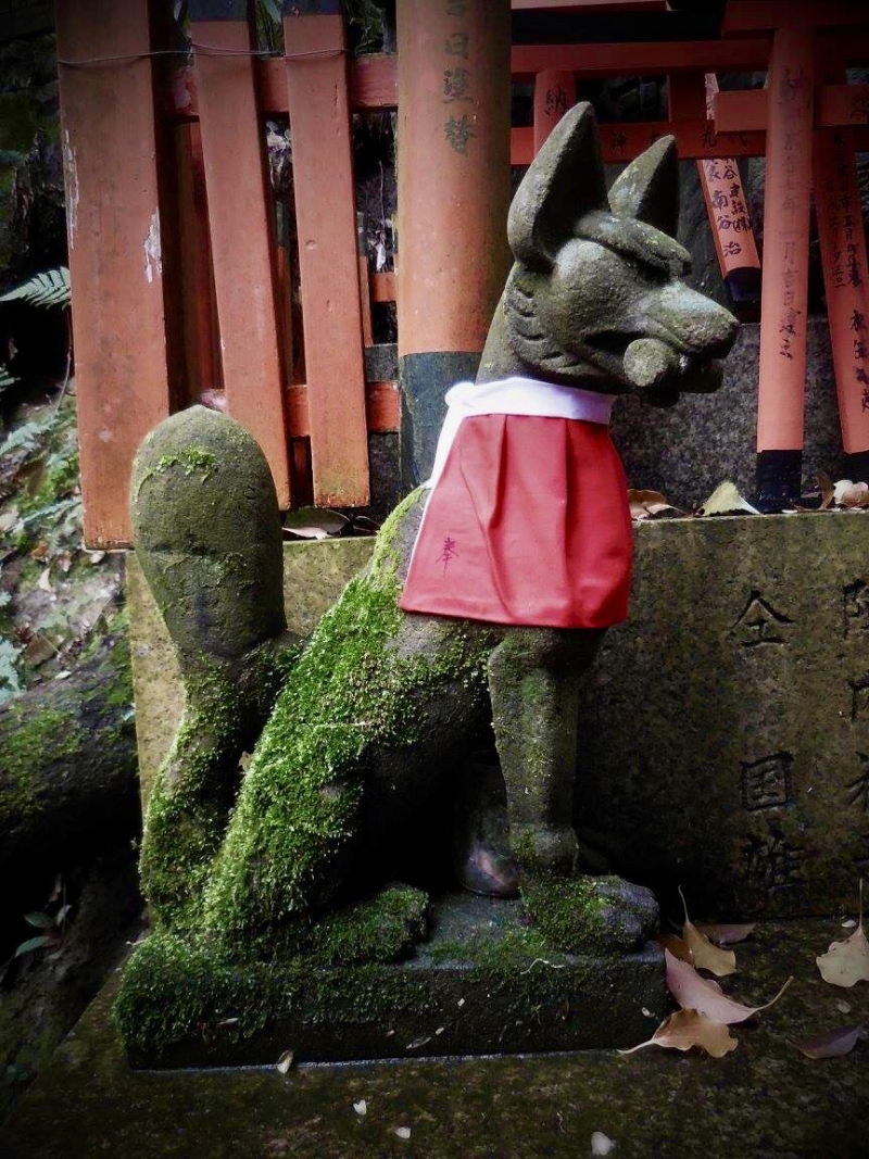 The fox is another mythical animal in Japan, it take part at numerous folkloric tales and is always associated with Inari, the kami worshiped here.
