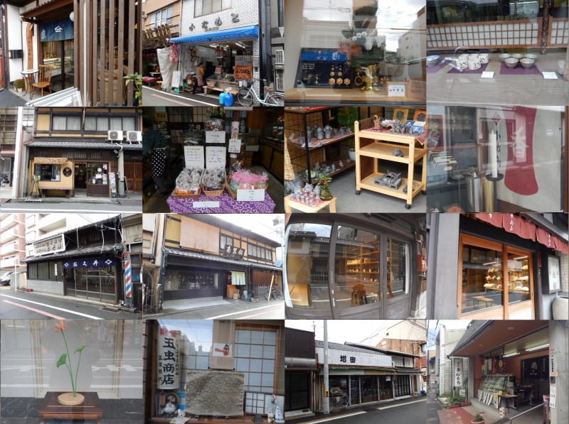 Anyway this street has a lot of shops. From left-upper picture, japanese pickles shop, cooked Eel shop, Buddhist altar shop, tea utensils shop, Kimono shop, japanese candy shop, japanese roof tile shop, japanese candle shop, japanese folding fan shop, silk yarn shop, japanese folding fan shop, Buddhist altar fittings shop, material shop for japanesae silding door, japanese antique shop, japanese sweets shop.