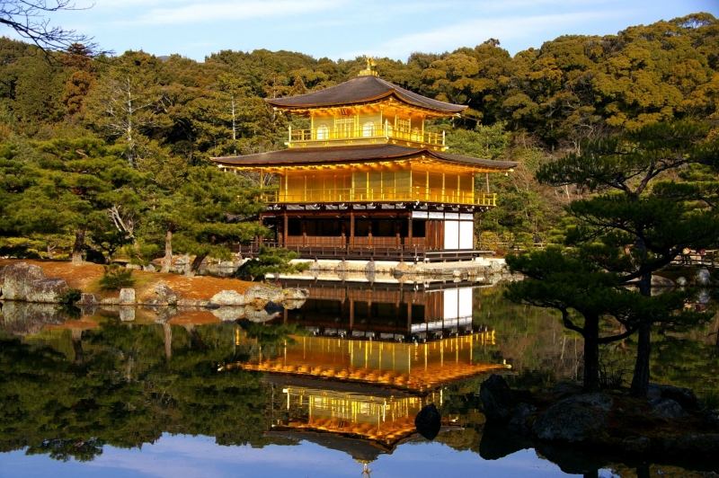 Kinkakuji ; Upside-down and real golden pavilion