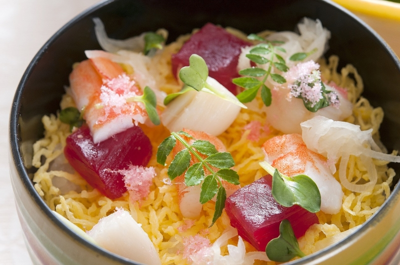 Chirashi sushi for spring festival