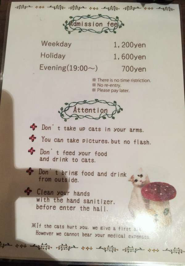 The rules of the cat cafe.
