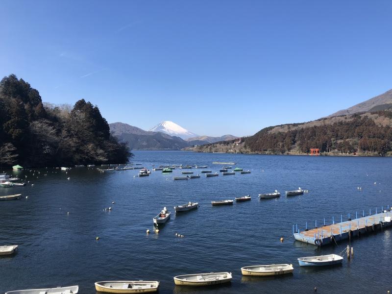Lake Ashi and Mt. Fuji.