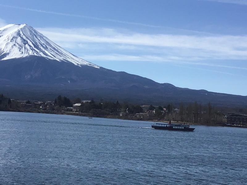Cruise boat and Mt Fuji