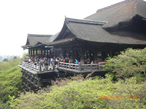 Famous huge panoramic veranda of Kiyomizudera Temple.