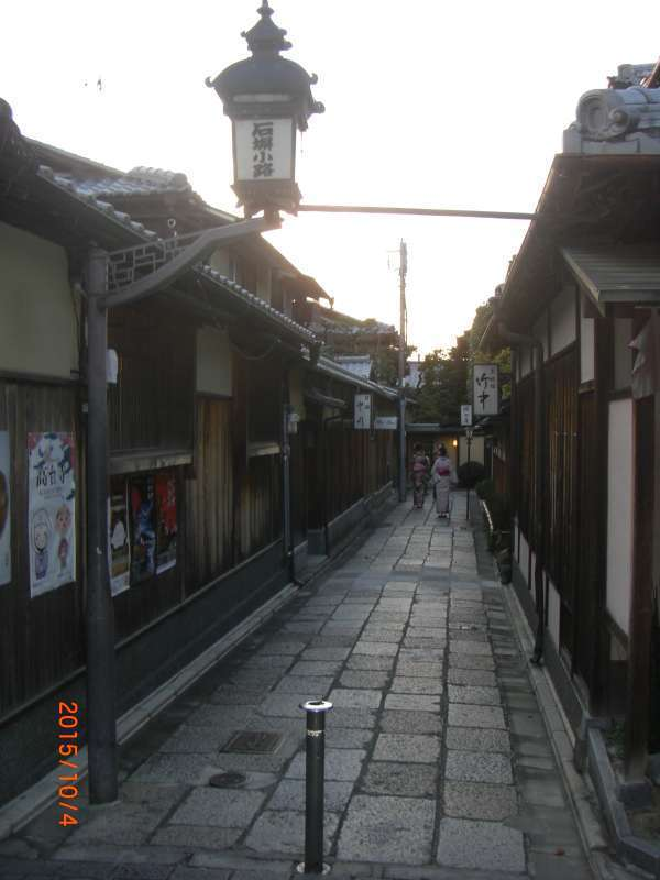 Exporing into cozy and traditional alley paved with flagstones.