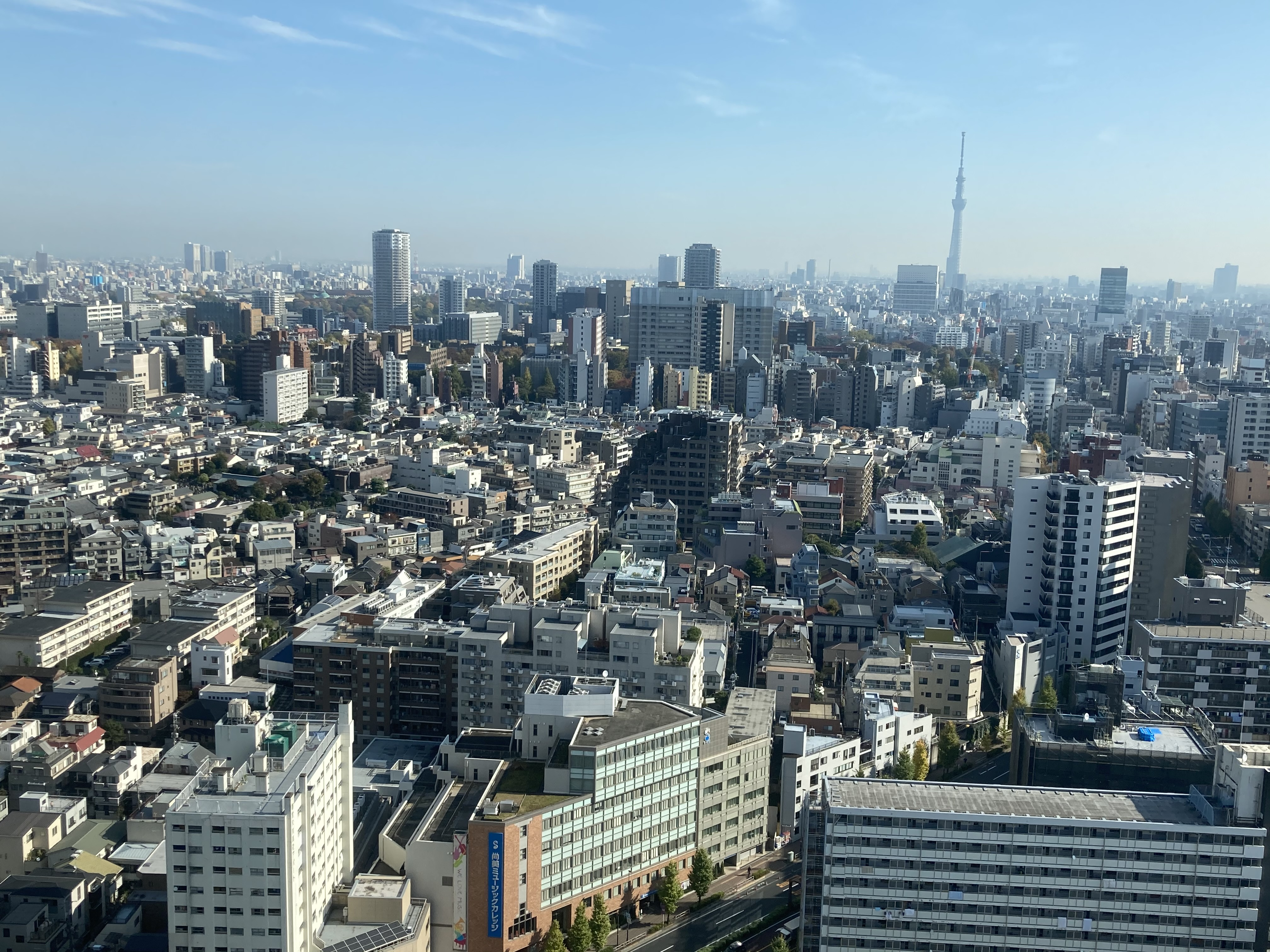 East side of Bunkyo City viewed from Civic Center Sky View Lounge (far right is Tokyo Skytree)