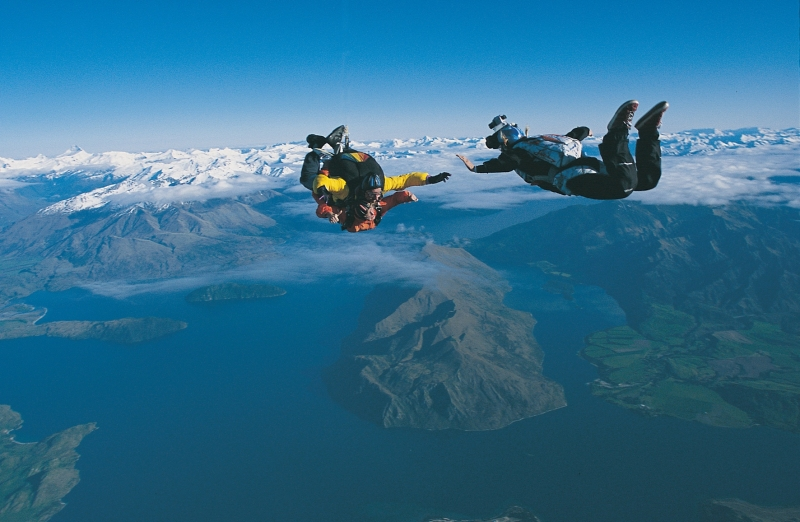 Skydiving over Wanaka in the South Island, photo ©SKYdive Wanaka
