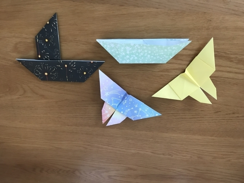 Origami works for young participants include a trick boat, catamaran and butterfly.
