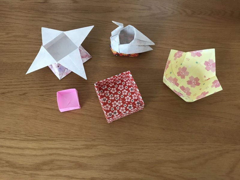 A variety of Origami containers.
