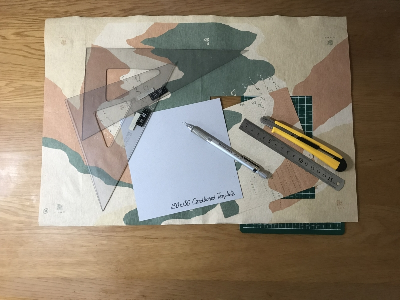 Cut Origami sheets from wrapping paper and/or colored/patterned paper using a template.
