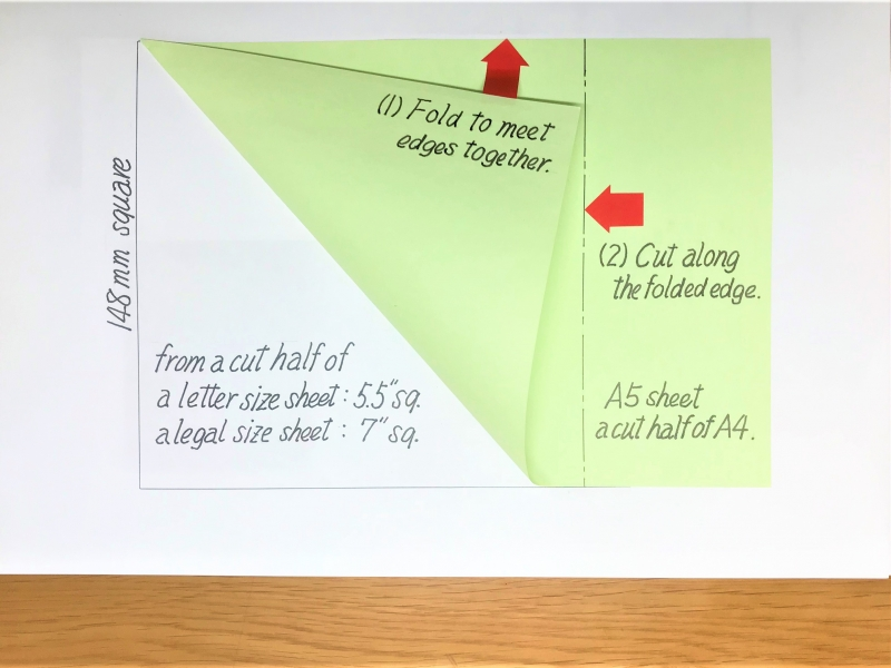 Origami sheets can be easily cut from regular size paper sheets.
