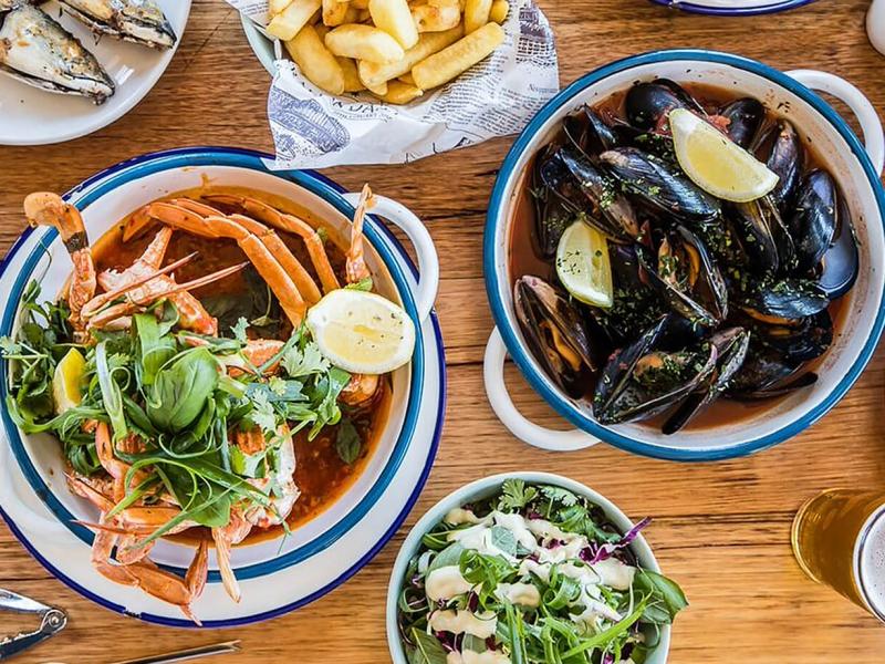Lunch is at an award-winning restaurant overlooking Pelican island