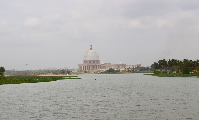 Basilica of Our Lady of Peace from lake view