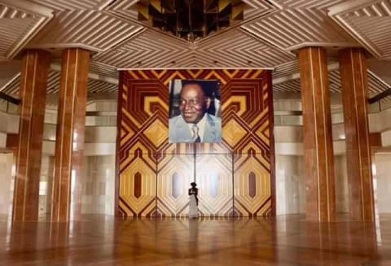 Inside the foundation of Peace with the picture of the first President of Ivory Coast