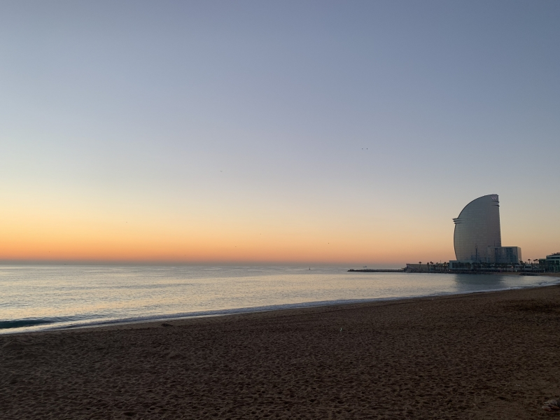 Sunrise in Barceloneta beach