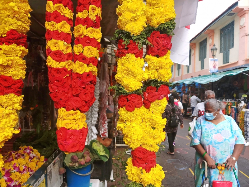 Colourful garlands at Little India