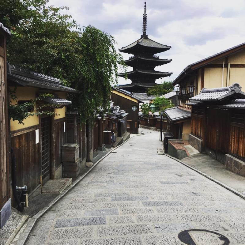 Yasaka Pagoda on the traditional slope near the temple