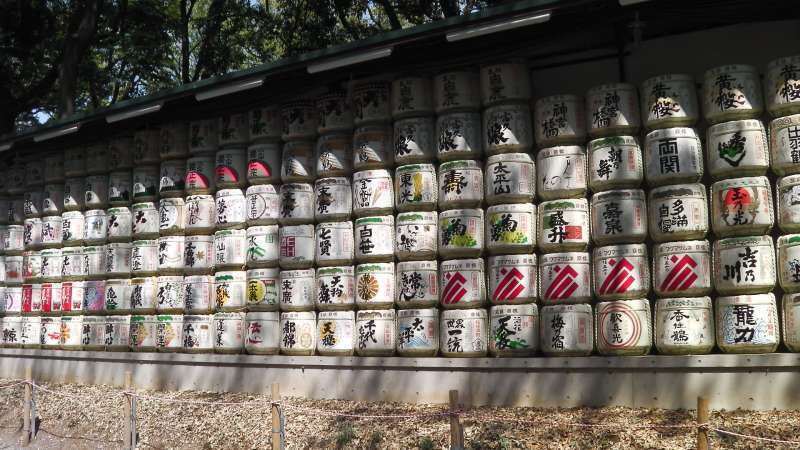 T1. Meiji-Jingu Shrine (Display of many kinds of Sake barrels)