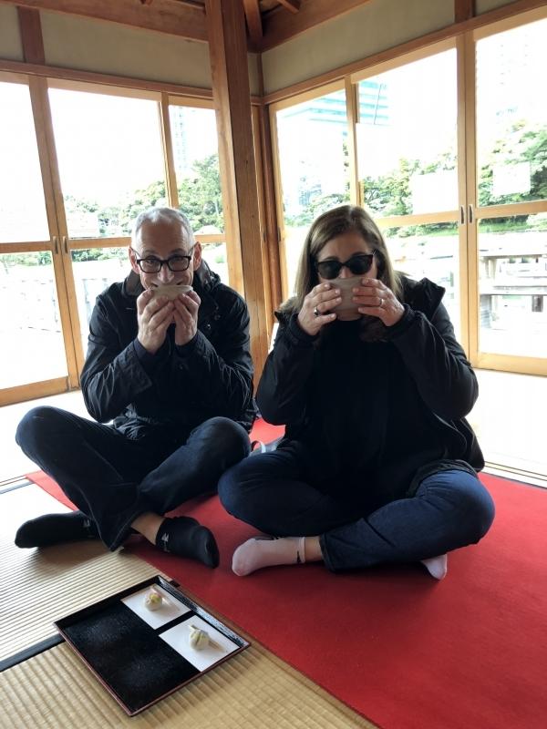 Japanese matcha tea in tea house on the pond