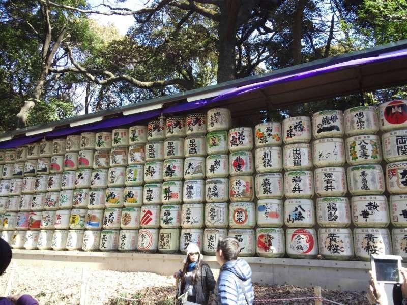 Stacked sake barrels Want some?