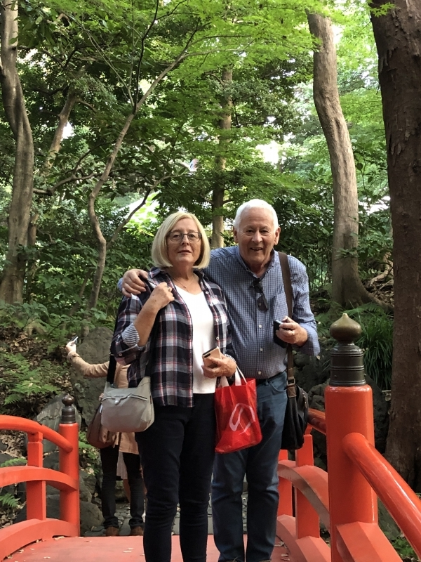 A lovely couple from UK on the bridge at Korakuen Gardens.