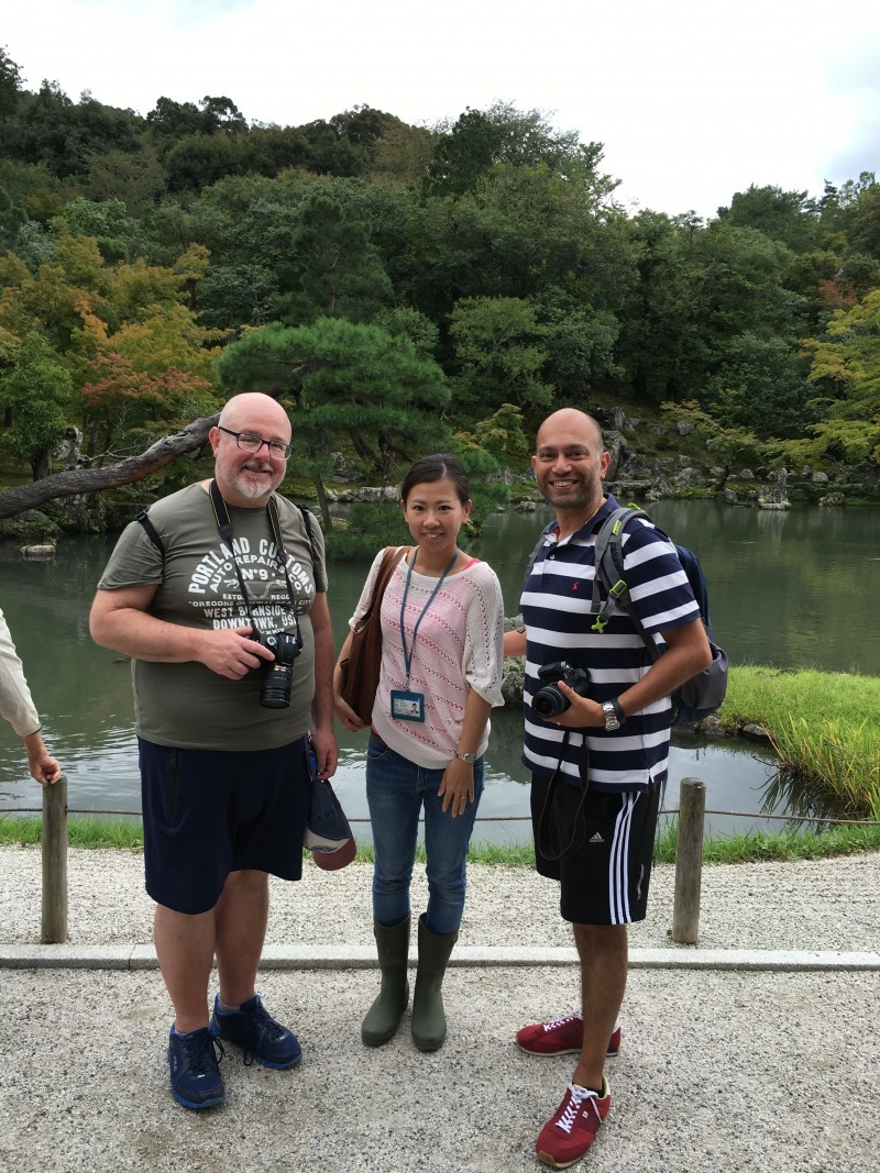 At Tenryuju Temple, in front of the beautiful Zen garden. It was a good day!