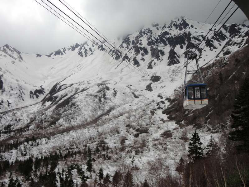 Snow-covered Tateyama mountain range from ropeway